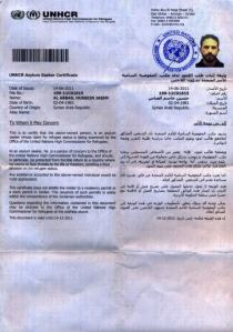 Hussein Abbas UNHCR Registration Jun-Dec 2011. Current refugee status unknown.