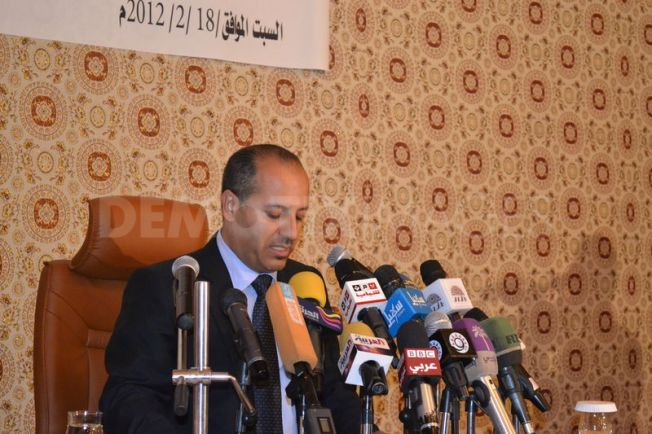 Dr. Khaled Nashwan during his speech at the press conference - Photo: Saleh Maglam on Demotix