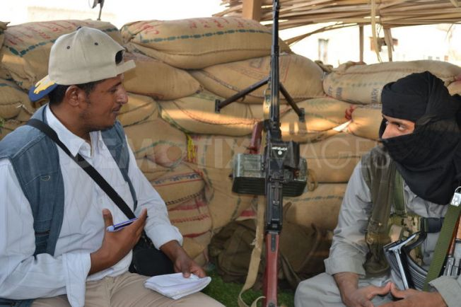 A leader of Al Qaeda speaks to the press. In the picture Demotix correspondent in Yemen during a short interview at Azzan South Yemen.