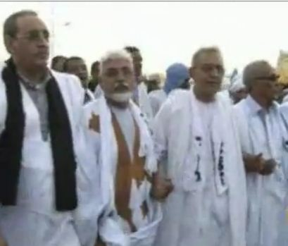 Opposition leaders at the protest march