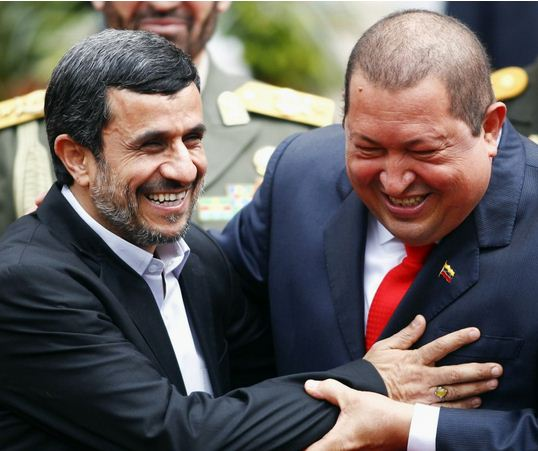 Touching reunion - Ahmadinejad with Chavez in Caracas