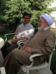Mehdi Karroubi, political opposition leader under house arrest in Iran since January 2011, on a rare visit with family