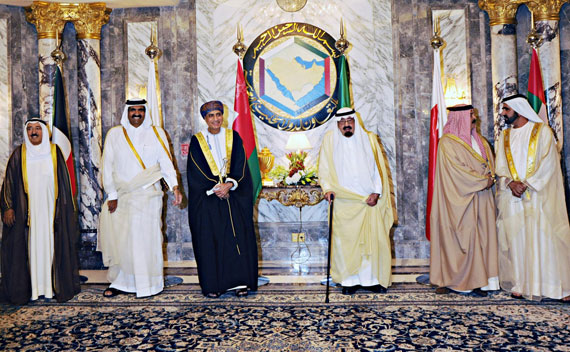 Leaders of the Gulf Arab States pose for a photo before the opening session of the Gulf Cooperation Council (GCC) summit in Riyadh May 10, 2011. (Ho New/Courtesy Reuters)