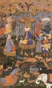 Illustration of an incident in the Shahnama showing King Solomon , from the late 16th century. (WikiPedia)