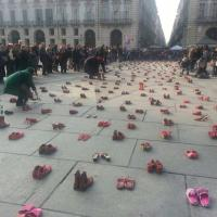 "Turin, Italy ""Red Shoes"" protest to stop violence against women"