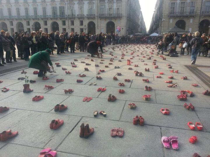 Red Shoes Protest Turin Italy