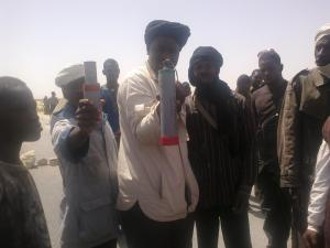22 Apr 13 Porters show gas grenade cartridges s used against them by gendarmes in Mauritania today